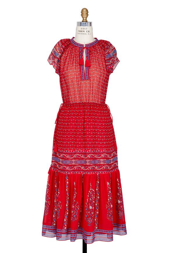 Ulla Johnson Neela Scarlet Red Silk Dress