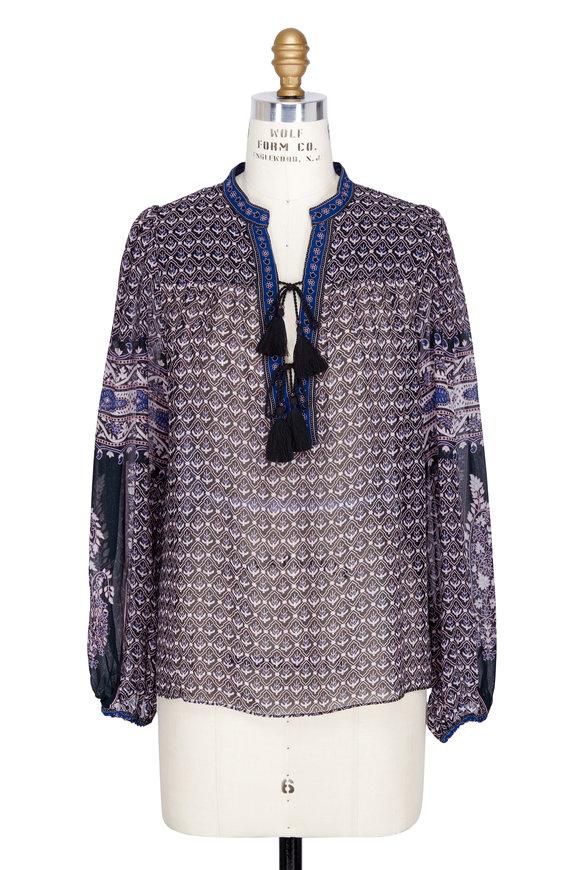 Ulla Johnson Amala Blue Semi-Sheer Silk Blouse