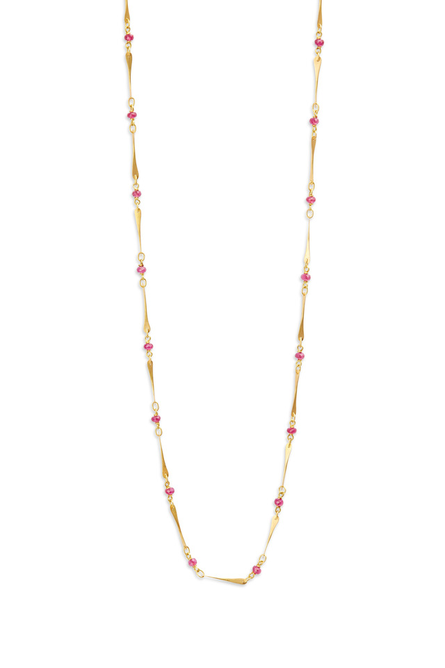 20K Yellow Gold Ruby Necklace