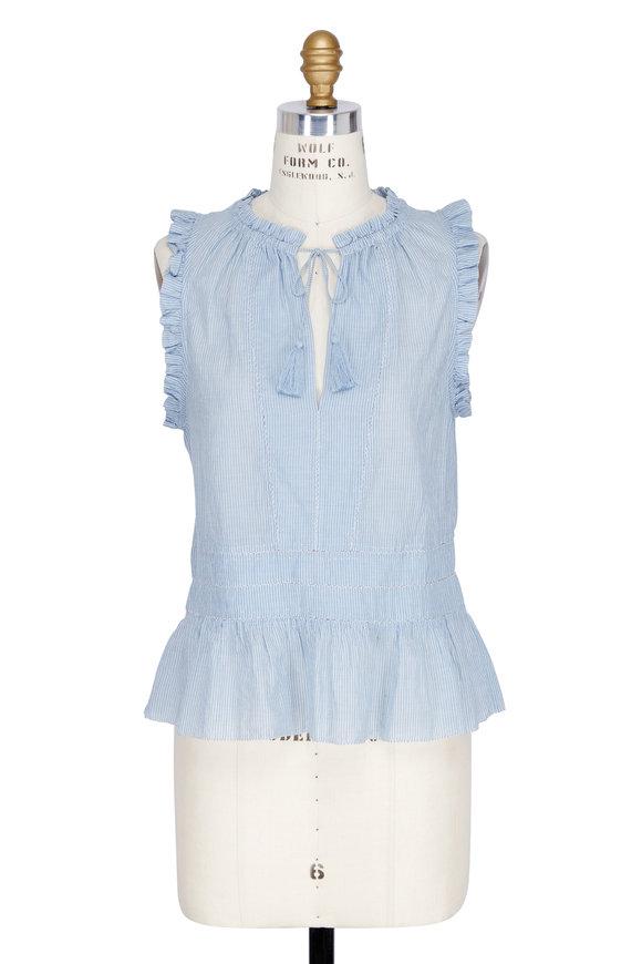 Ulla Johnson Cosette Blue Striped Gathered Neck Blouse