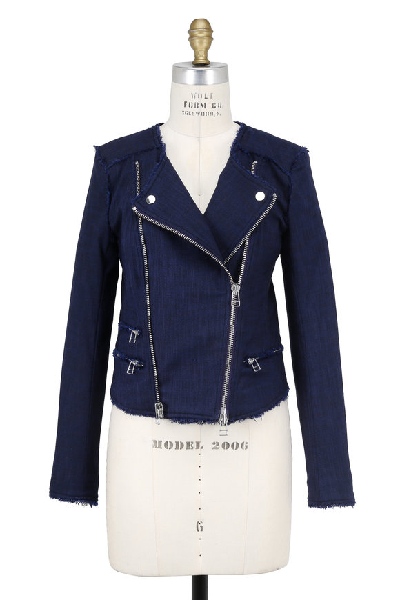 Veronica Beard Stevie Navy Fringed Moto Jacket