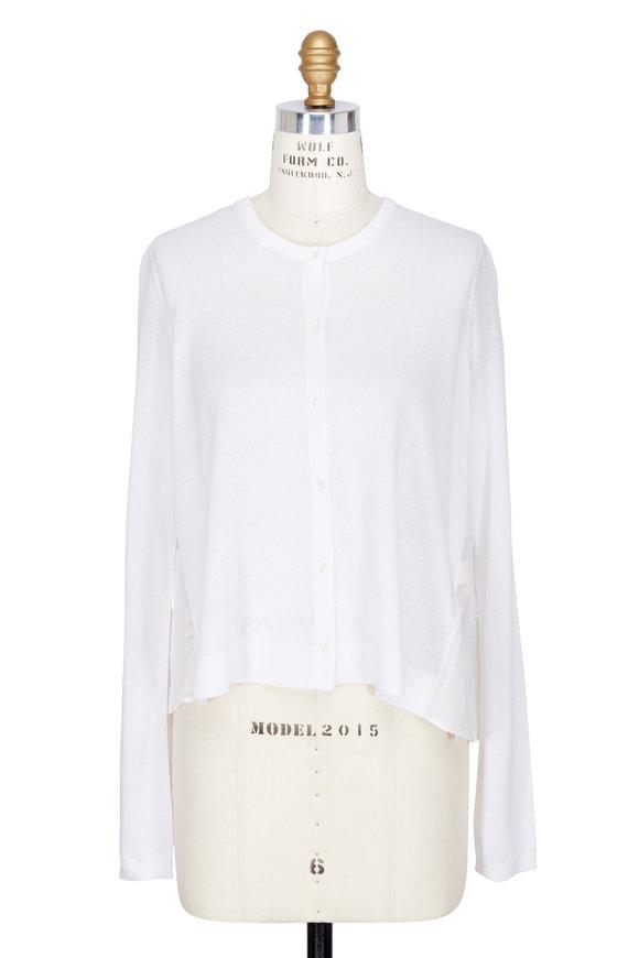 DOROTHEE SCHUMACHER Poetic Hemisphere White Silk & Linen Cardigan