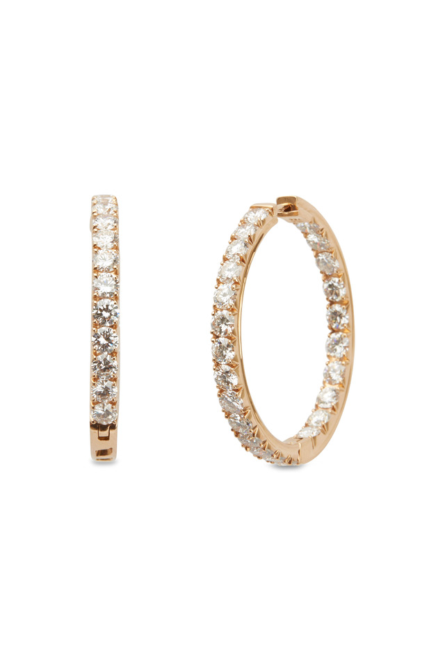 Pink Gold White Diamond Hoop Earrings