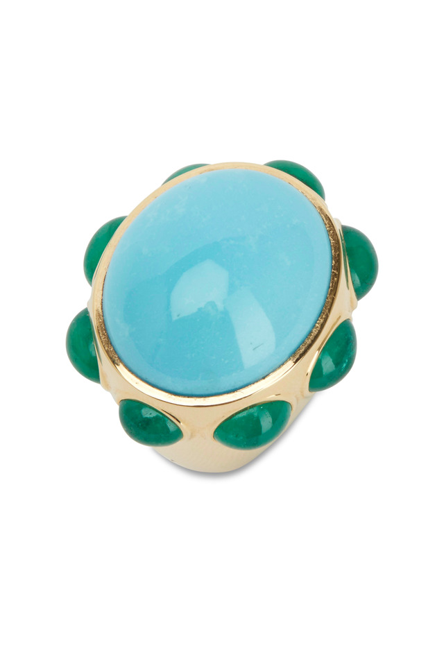 Yellow Gold Turquoise & Emerald Ring