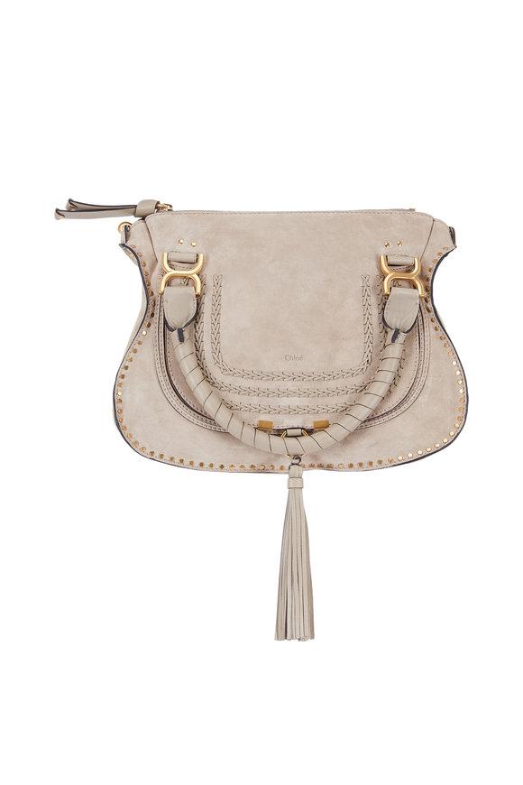 Chloé Marcie Gray Suede Medium Shoulder Bag