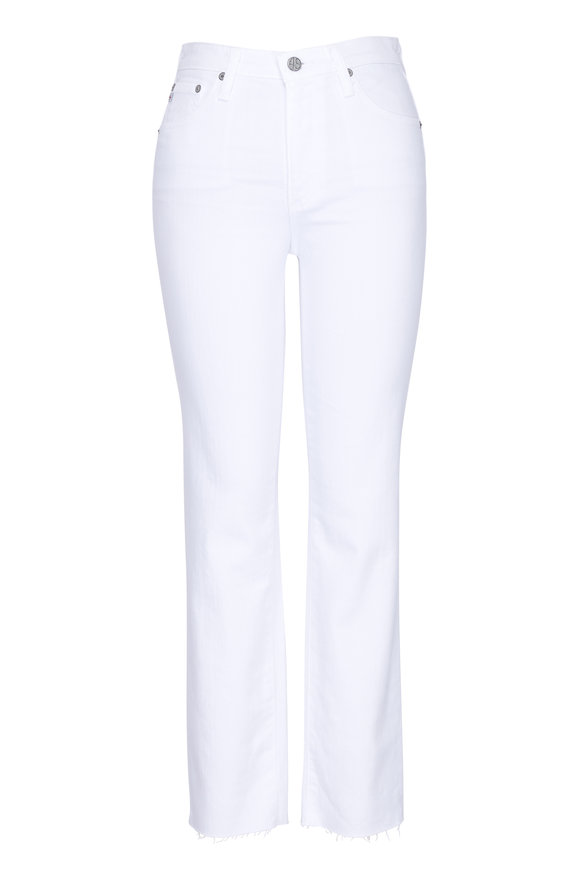 AG - Adriano Goldschmied Isabelle White High-Rise Cropped Raw Hem Pant