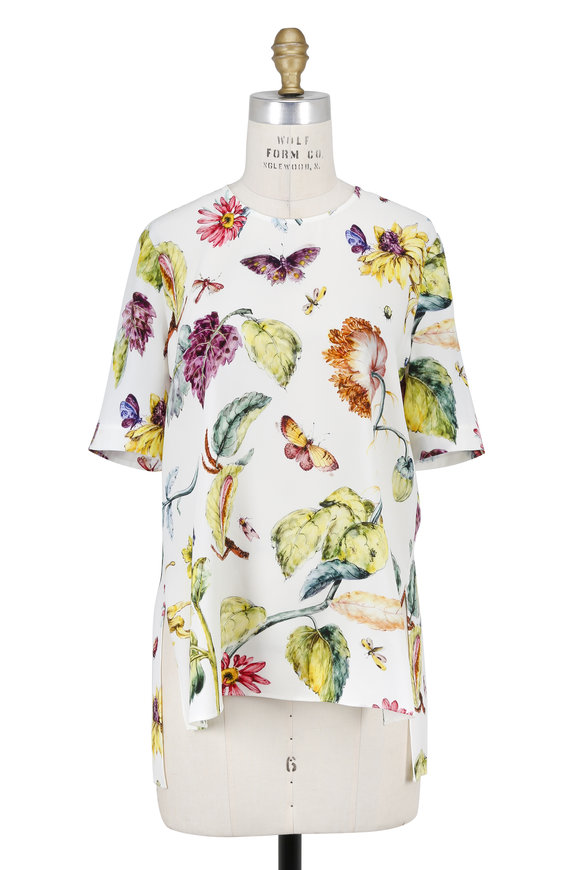 Adam Lippes Cream Floral Print Short Sleeve Top