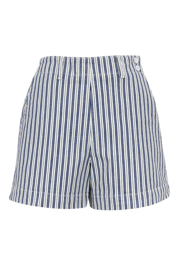 AG - Adriano Goldschmied Juliette White & Blue Striped High Rise Shorts