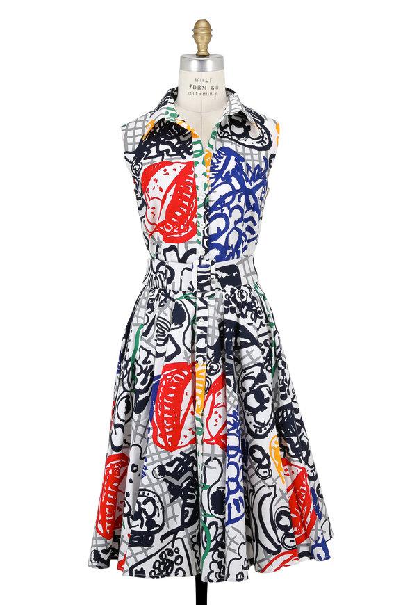 Samantha Sung Gigi Multicolor Gaurmet Print Sleeveless Dress