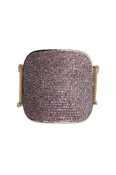 Tulah Jem - Tan Leather Pink Sapphire Bracelet