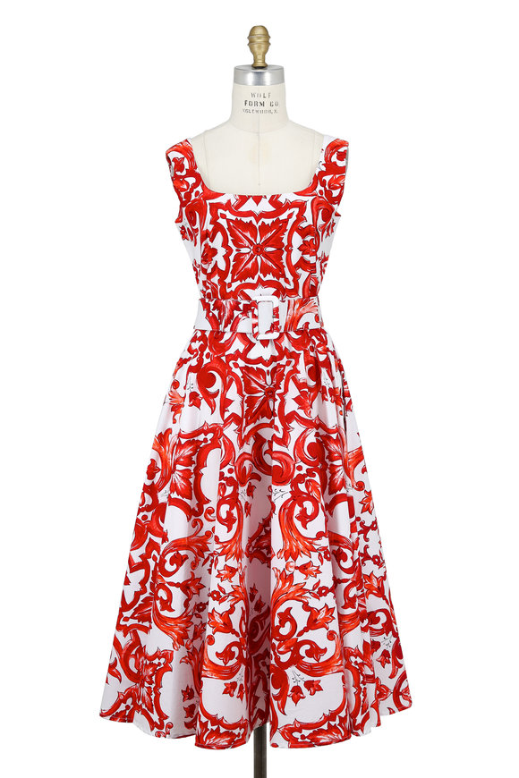 Samantha Sung April Red Paros Tile Print Sleeveless Dress