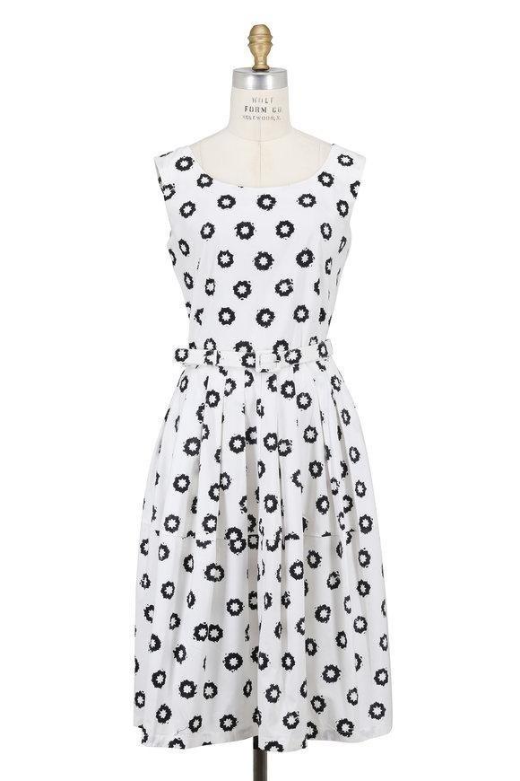 Samantha Sung Rachel White Star Dot Printed Sleeveless Dress