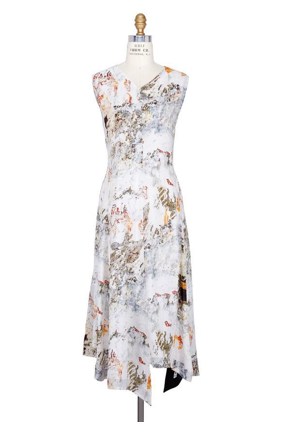 Colovos Georgette Silk Abstract Print Sleeveless Dress