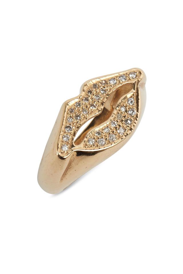 Yellow Gold Uber Lip Diamond Ring