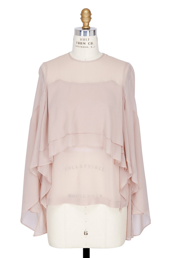 Robert Rodriguez Blush Silk Tiered Ruffle Blouse