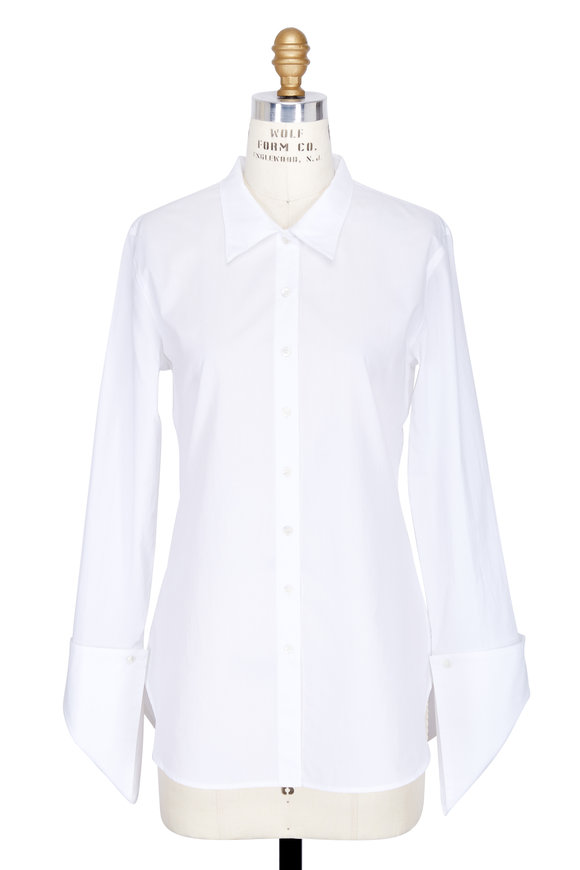 Robert Rodriguez White Asymmetric Cuff Tailored Blouse