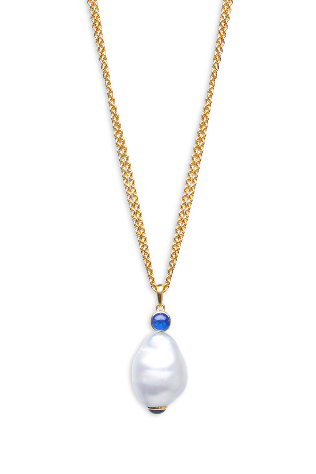 Gold White South Sea Pearl Blue Sapphire Necklace