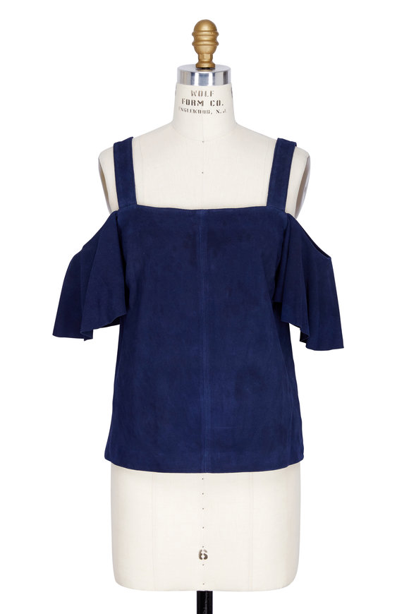 Robert Rodriguez Indigo Suede Cold Shoulder Top