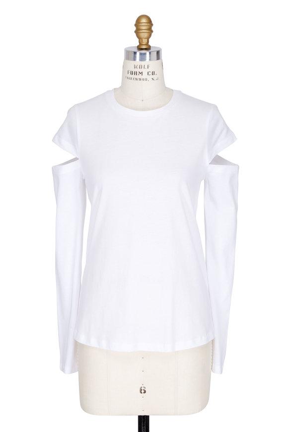Robert Rodriguez White Cut-Out Long Sleeve T-Shirt