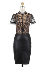 Jitrois - Queen Black Leather Embroidered Mesh Bodice Dress