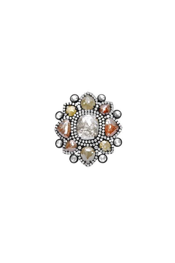 Sutra 18K White Gold Rough Diamond Flower Ring