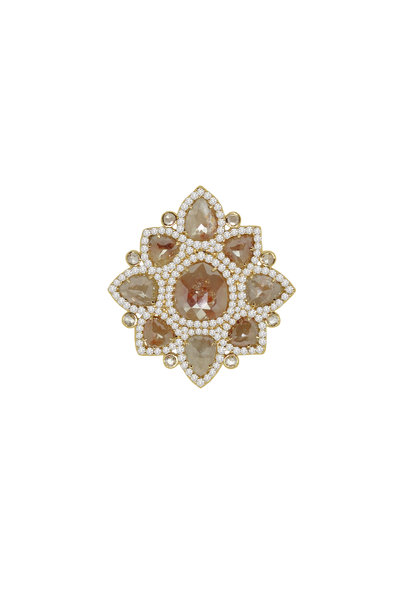 Sutra - 18K Yellow Gold Rough Diamond Flower Ring