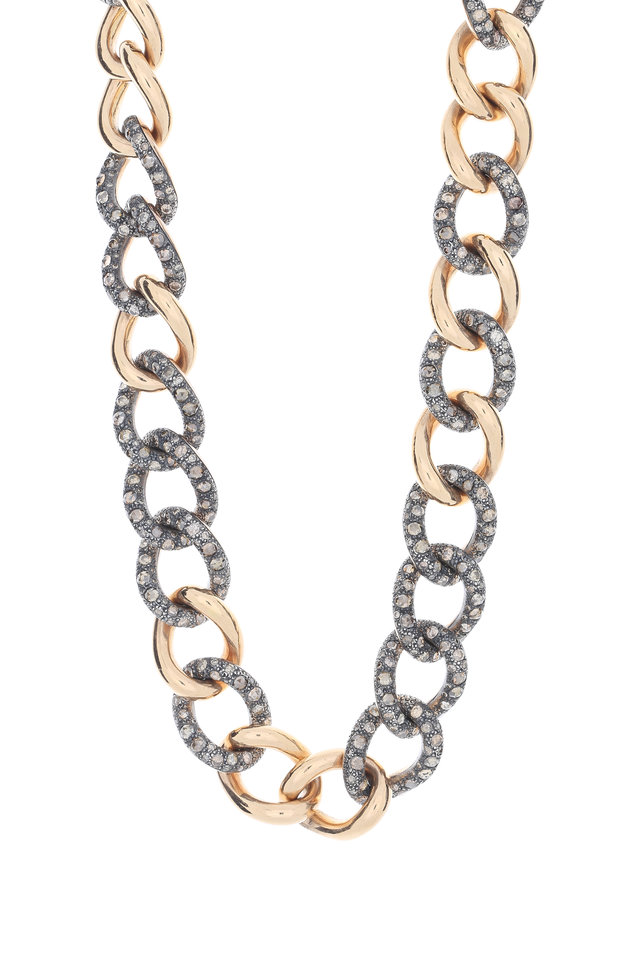 Rose Gold Brown Diamond Tango Link Necklace