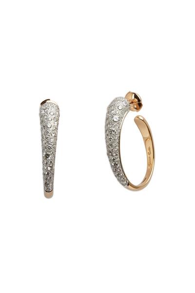 Pomellato - Pink Gold White Diamond Tango Hoop Earrings