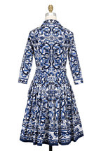 Samantha Sung - Audrey Blue & White Del-Mar-Tile Belted Shirtdress