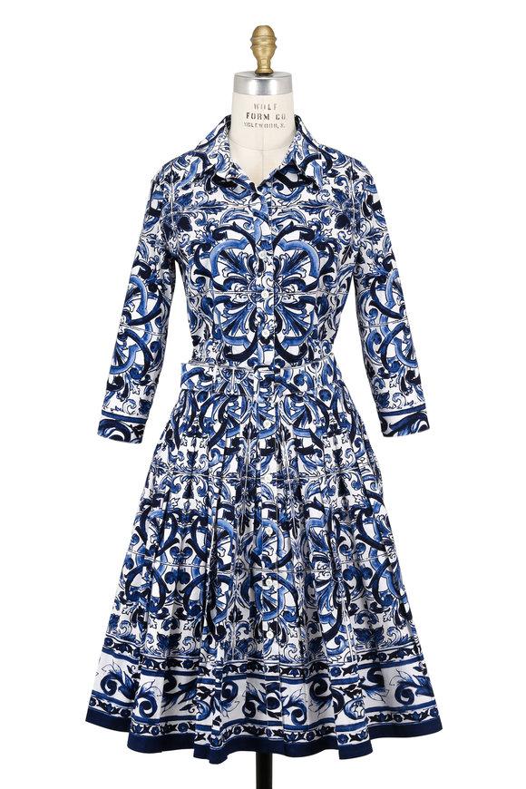 Samantha Sung Audrey Blue & White Del-Mar-Tile Belted Shirtdress