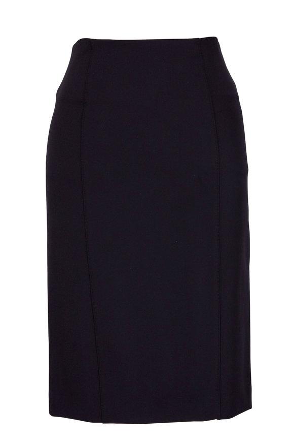 Veronica Beard Scuba Black Back Zip Pencil Skirt