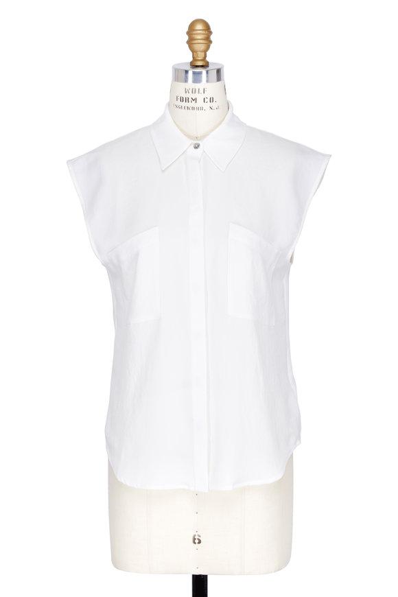 7 For All Mankind Soft White Angled Pocket Sleeveless Shirt