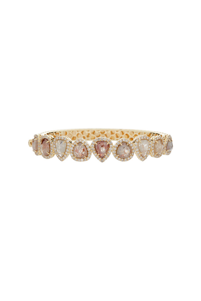 18K Yellow Gold Rough Diamond Line Bracelet