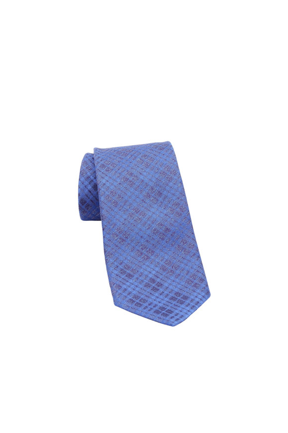 Charvet Blue & Gray Plaid Silk Necktie