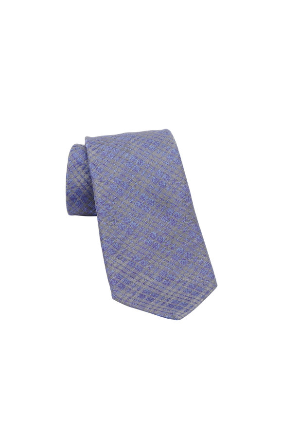 Charvet Navy Blue Plaid Silk Necktie