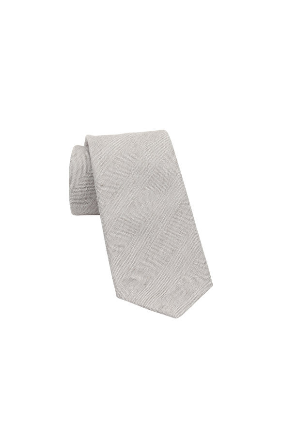 Brioni Light Brown Herringbone Silk Blend Necktie