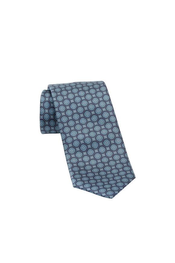 Brioni Slate Geometric Print Silk Necktie