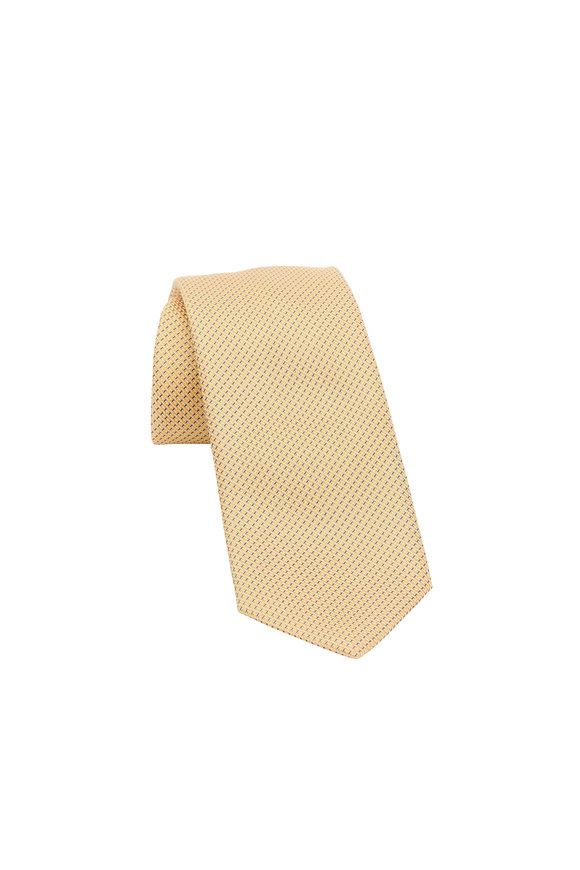 Brioni Yellow Geometric Silk Necktie