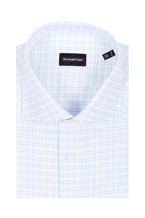 Ermenegildo Zegna White & Blue Grid Check Dress Shirt