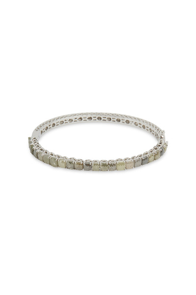 Sutra - White Gold White Diamond Bangle Bracelet