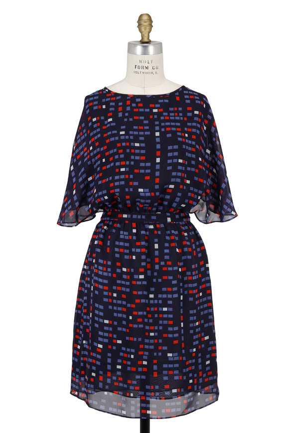 Armani Collezioni Navy Blue Printed Chiffon Cape Sleeve Dress