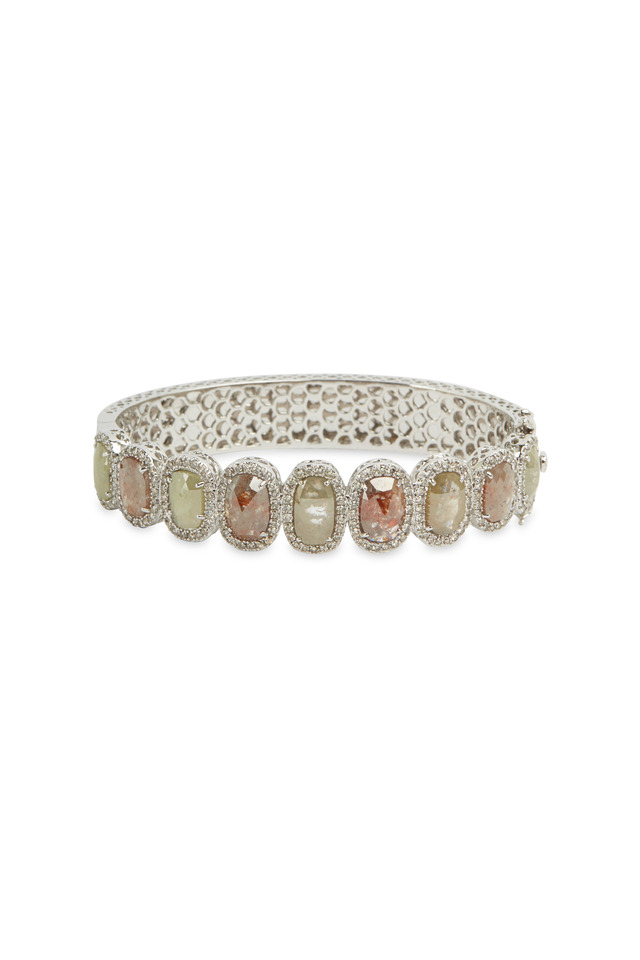 White Gold & White Diamond Bangle Bracelet