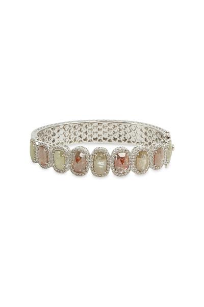 Sutra - White Gold & White Diamond Bangle Bracelet