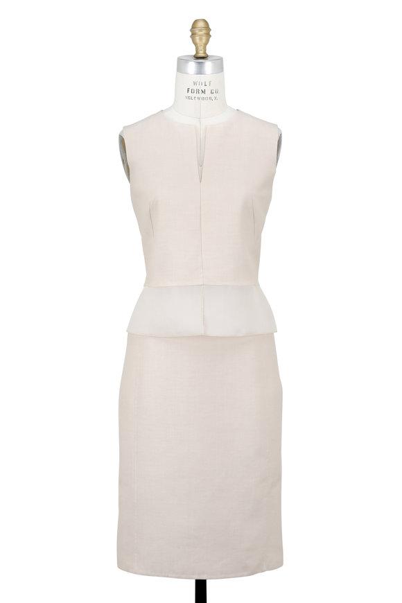 Akris Flax Organza Peplum Sleeveless Dress