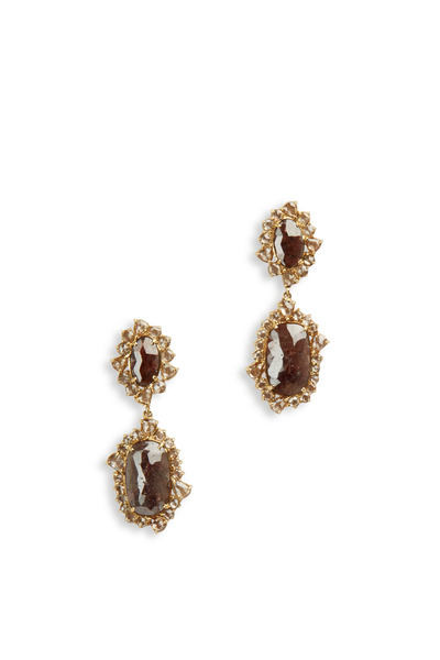 Sutra - Yellow Gold Rough Diamond Double Drop Earrings