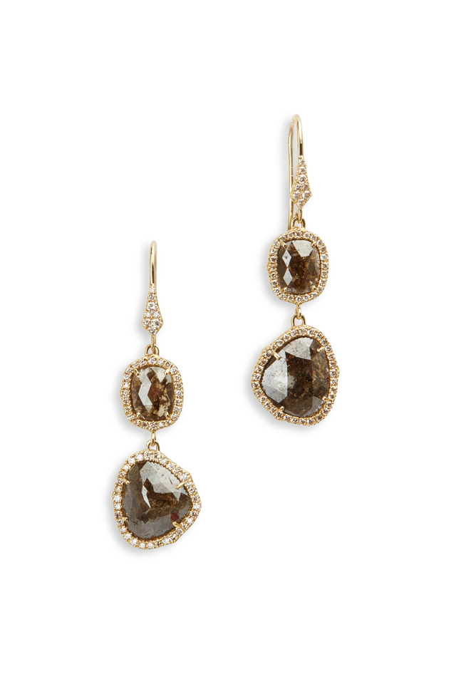 Yellow Gold Rough Diamonds Earrings