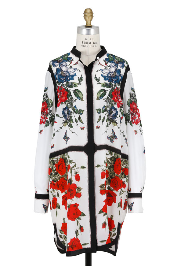 Alexander McQueen Ivory, Black & Red Floral Print Silk Shirtdress