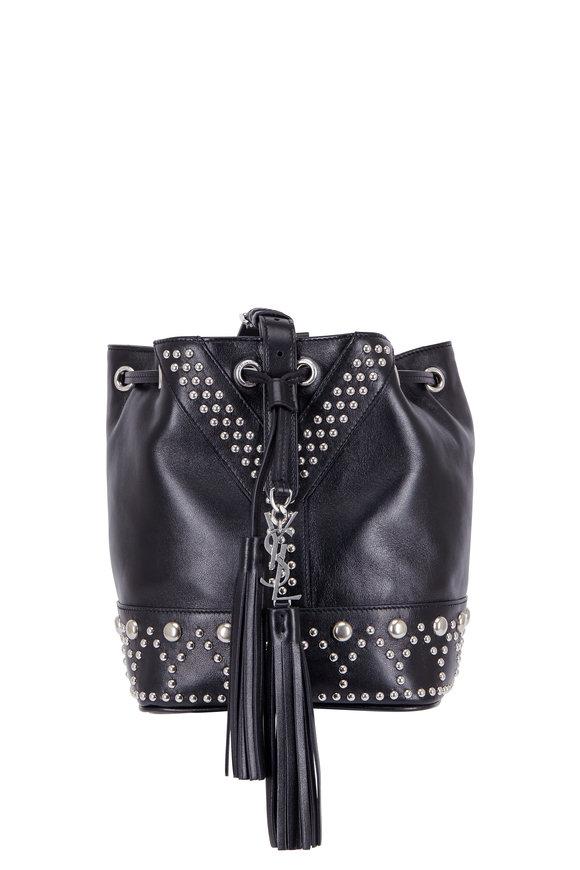 Saint Laurent Y Stud Black Leather Small Bucket Bag