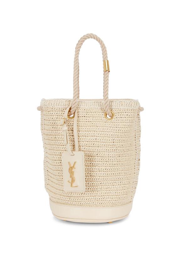 Saint Laurent Natural Raffia Small Bucket Bag