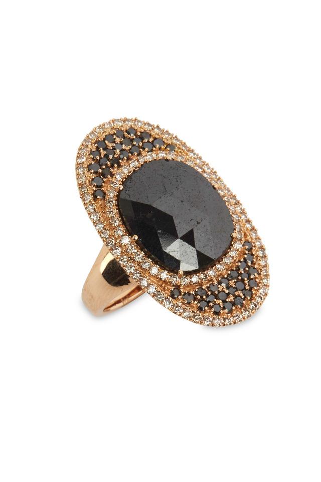 Rose Gold Black Diamond Twirl Ring
